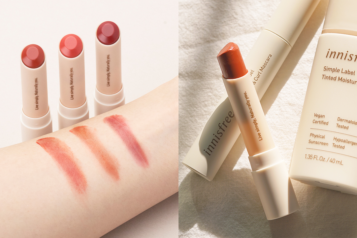 Innisfree Vegan Beauty Clean Beauty Simple Label Skincare Collection Simple Label Tinted Moisturizer Long and Curl Mascara Lip Color Balm