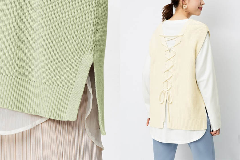 GU Back lace-up knit vest 2021 ss wear