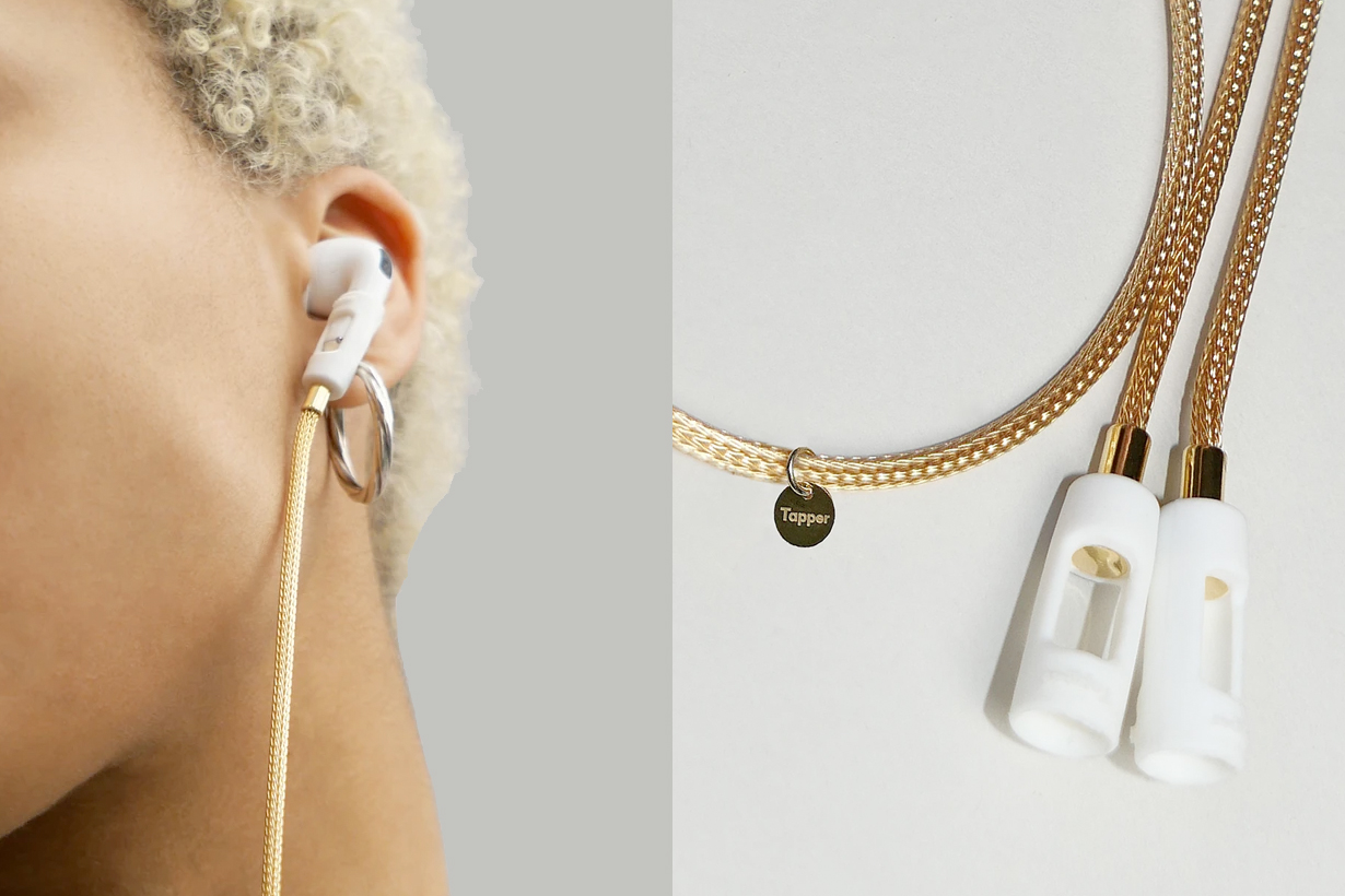 airpods jewelry accessory tapper 18k gold straps