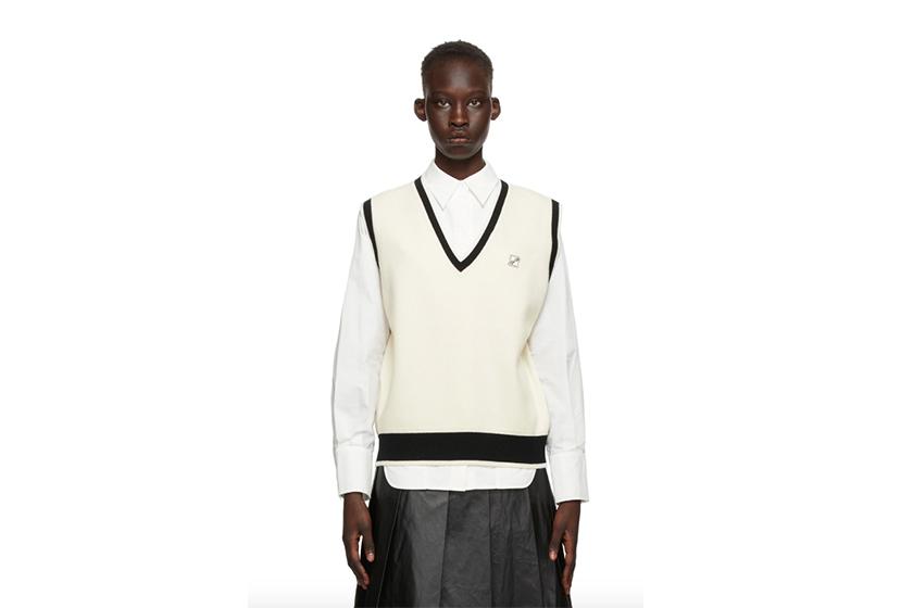 Off-White & Black Wool Logo Vest