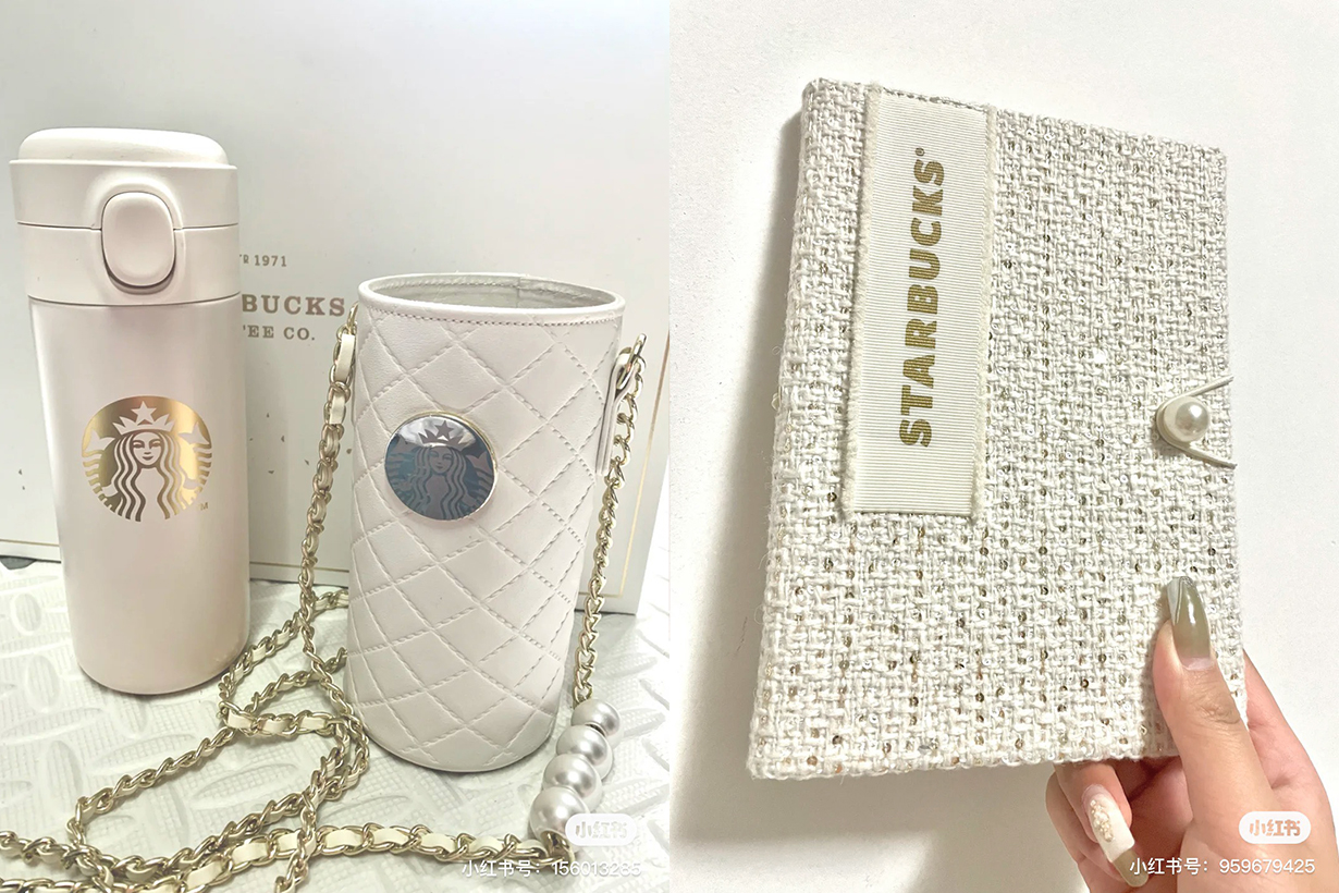 Starbucks china chanel pearl thermos notebook set lifestyle