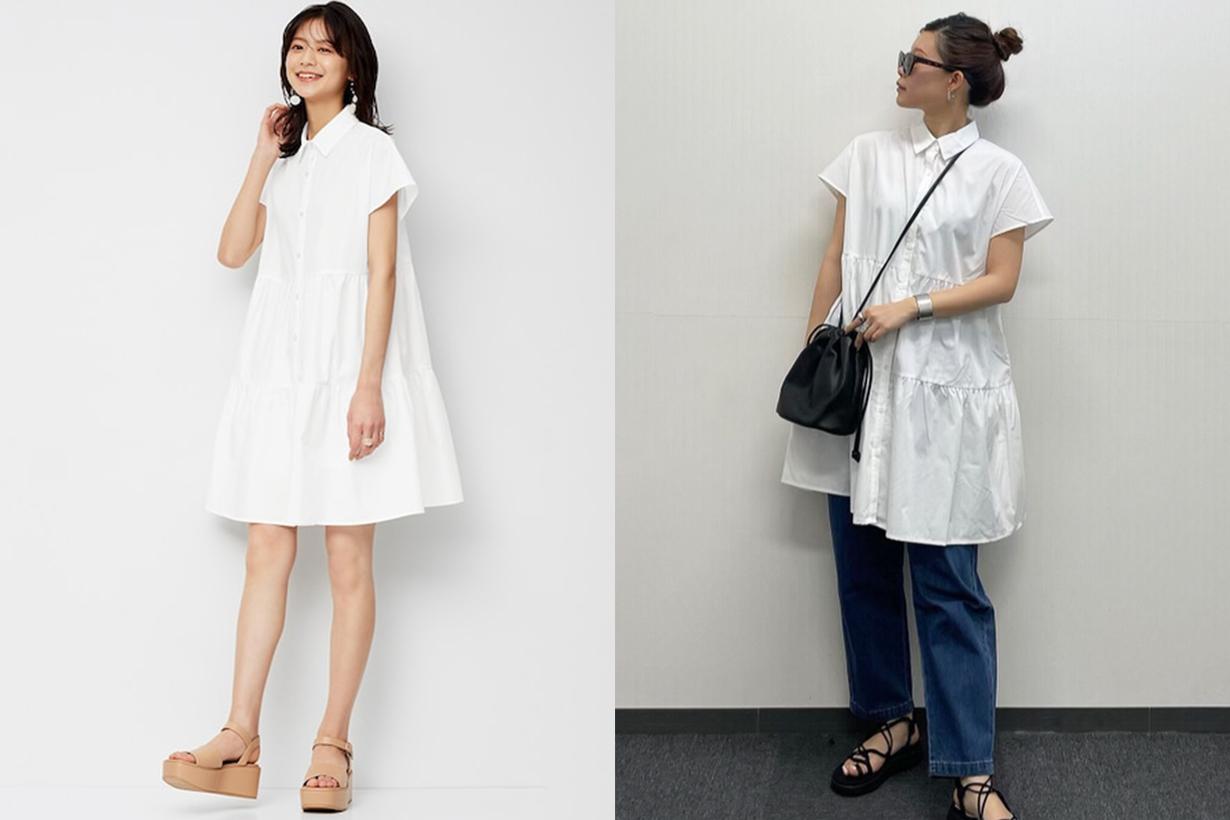 GU Tiered mini shirt dress 2021ss