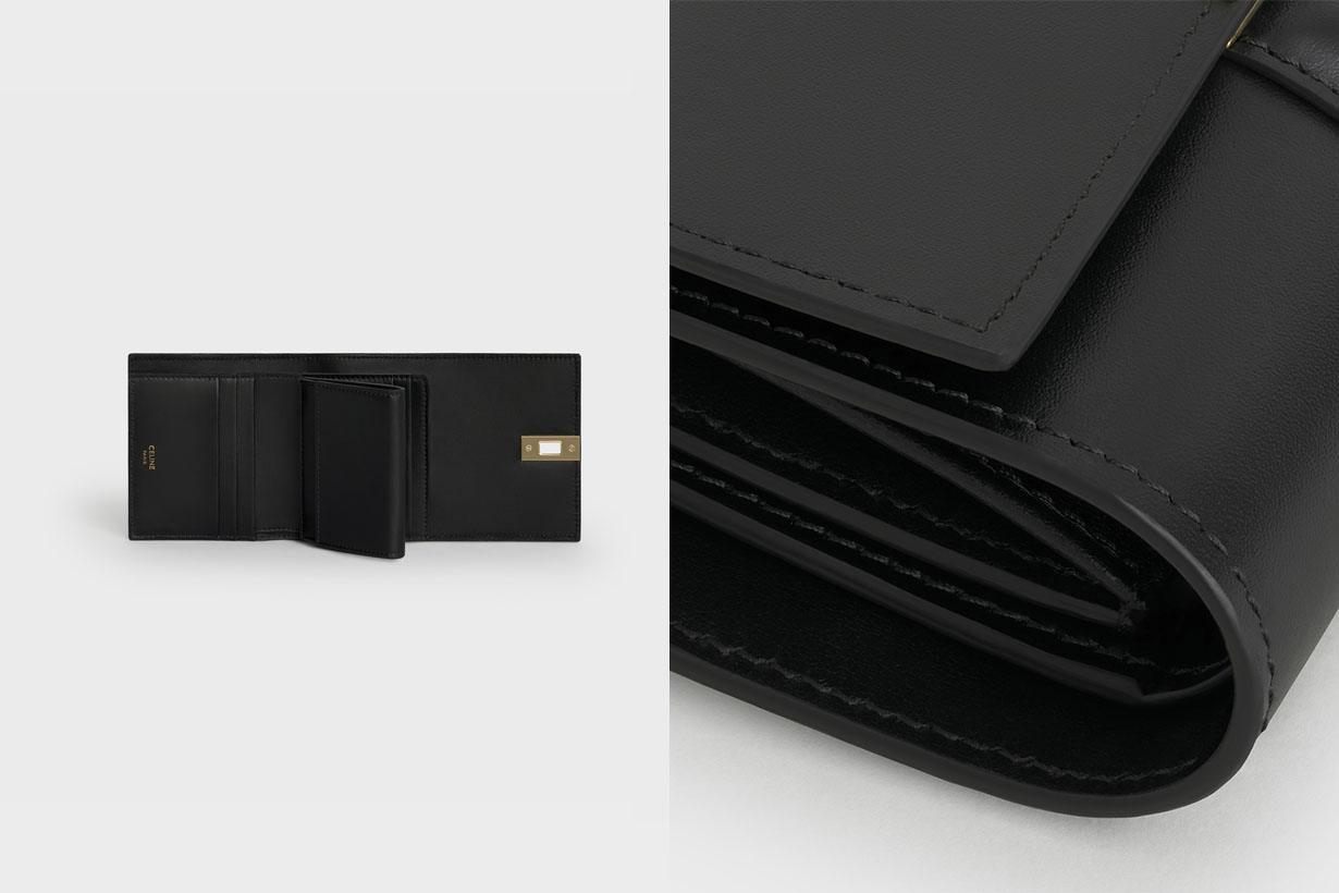celine small trifold wallet in shiny calfskin black