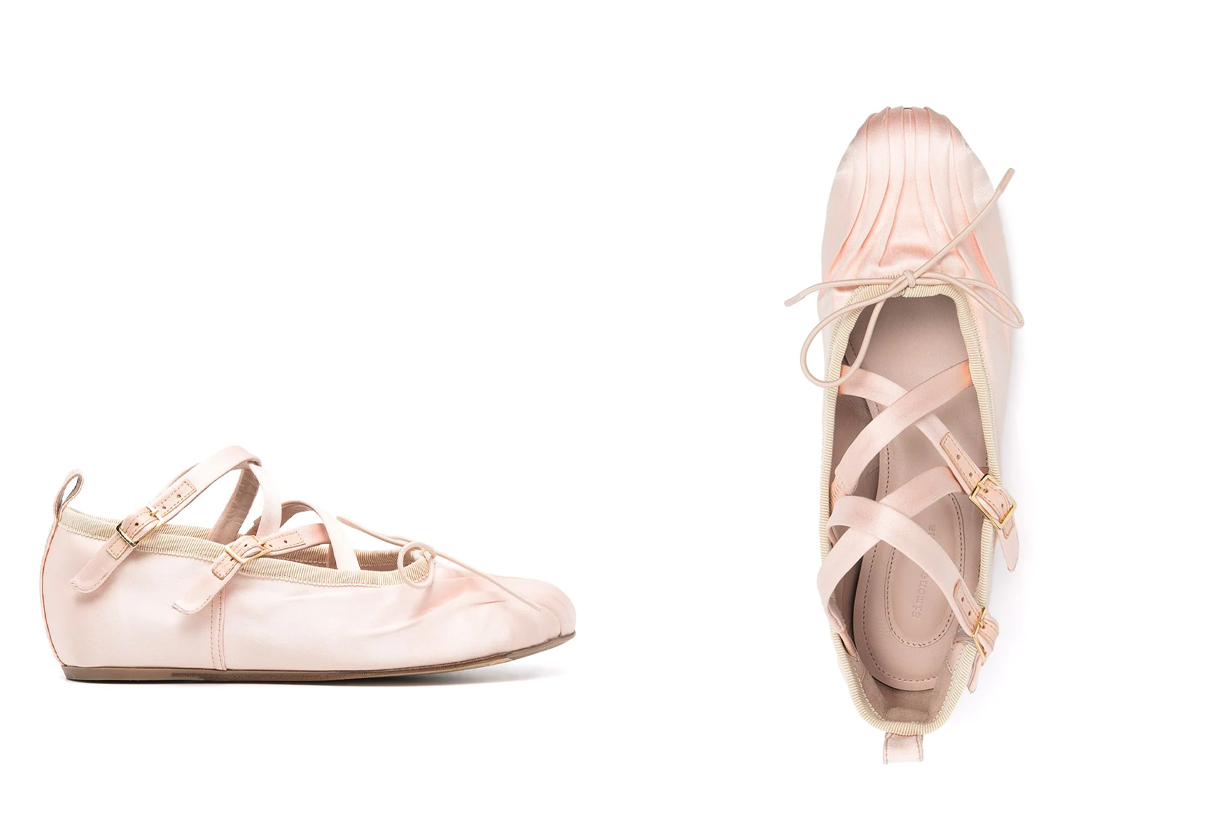 simone rocha Round Toe Criss-Cross Ballerina Pump 2021 spring summer shoes trends fashion trends flat shoes