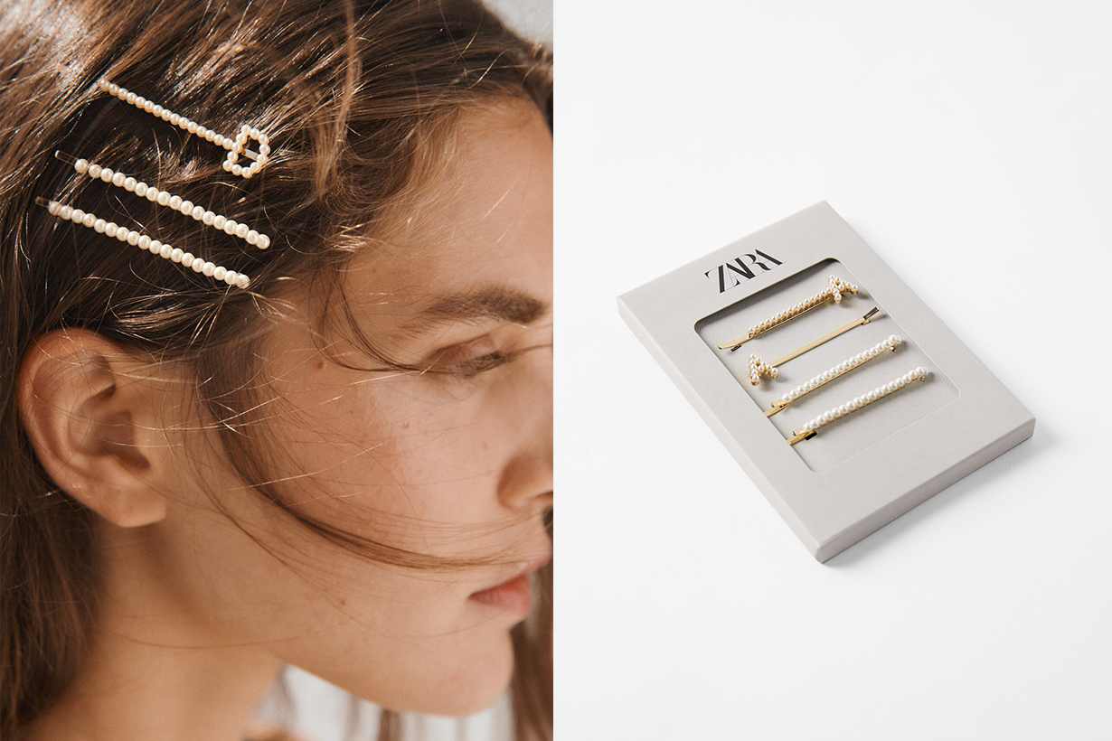 Zara Pearl & Gold initial ring hair pin new collection 2021 Japan limited