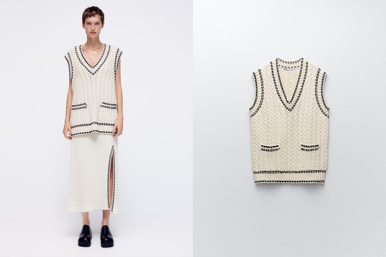 zara knit vest knit skirt with stitching detail 2021 fw