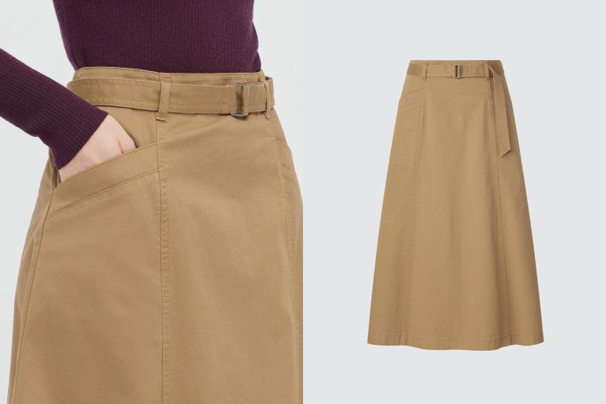 UNIQLO cotton wide skirt 2021fw japanese girl
