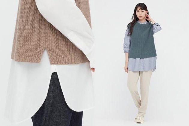 uniqlo vest knit fall winter men women boyish girls